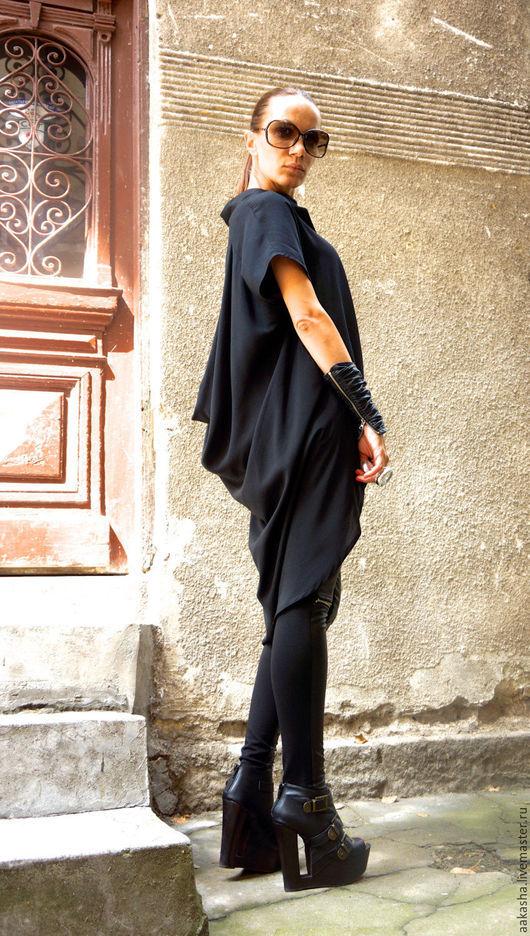 Черная рубашка туника длинная женская рубашка стильная одежда модная одежда свободная рубашка длинная туника дизайнерская рубашка