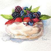 Картины и панно ручной работы. Ярмарка Мастеров - ручная работа Акварель Безе с ягодами. Handmade.