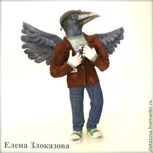 Портретные куклы ручной работы. Ярмарка Мастеров - ручная работа. Купить Ворон - птица высокого полёта.... Handmade. Ворона