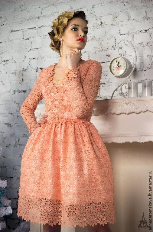 Платья ручной работы. Ярмарка Мастеров - ручная работа. Купить Кружевное платье. Handmade. Цветочный, платье для выпускного, цветы из ткани