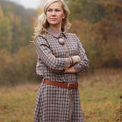 Одежда ручной работы. Ярмарка Мастеров - ручная работа Платье-рубашка в клетку, кантри, оборки. Handmade.