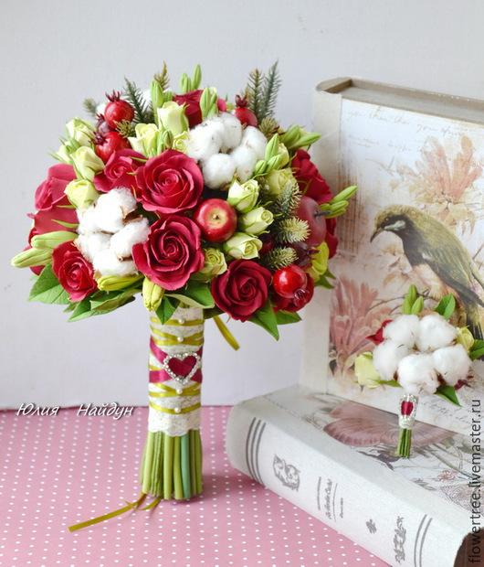 Букеты ручной работы. Ярмарка Мастеров - ручная работа. Купить Букет невесты с розами из полимерной глины и натуральным хлопком. Handmade.