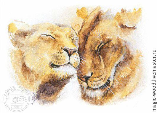 """Животные ручной работы. Ярмарка Мастеров - ручная работа. Купить Иллюстрация""""Львы""""акварельная работа. Handmade. Лев, картина, графика, любовь, животные"""