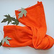 """Аксессуары ручной работы. Ярмарка Мастеров - ручная работа Оранжевый вязаный шарф """"Мой любимый апельсиновый """". Handmade."""
