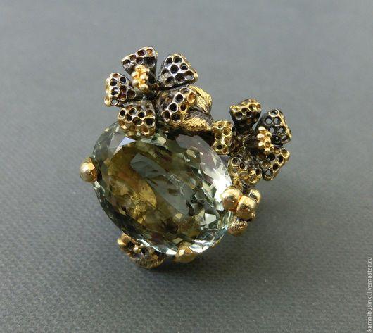 Кольца ручной работы. Ярмарка Мастеров - ручная работа. Купить 18,5 р-р кольцо зеленый аметист гранат серебро 925 пробы золото. Handmade.