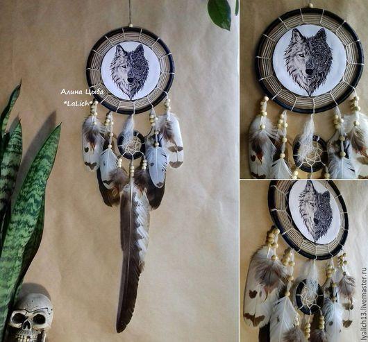 """Ловцы снов ручной работы. Ярмарка Мастеров - ручная работа. Купить Ловец Снов """" Totem  wolf"""". Handmade. волк"""