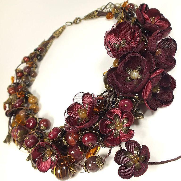 Amber Bordeaux. Choker, removable floral decor, Necklace, St. Petersburg,  Фото №1
