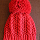 Order Knitted kit Little Red Riding Hood, knitted hat, knitted scarf. (Milena-Pobedova) (Milena-Pobedova). Livemaster. . Caps Фото №3