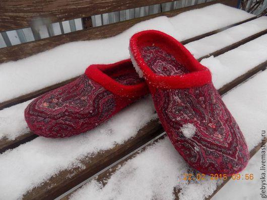 """Обувь ручной работы. Ярмарка Мастеров - ручная работа. Купить тапочки """"Боярские"""". Handmade. Комбинированный, 100% шерсть меринос"""