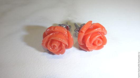 Серьги ручной работы. Ярмарка Мастеров - ручная работа. Купить Серьги Роза из коралла коралловая. Handmade. Коралловый, кораллы