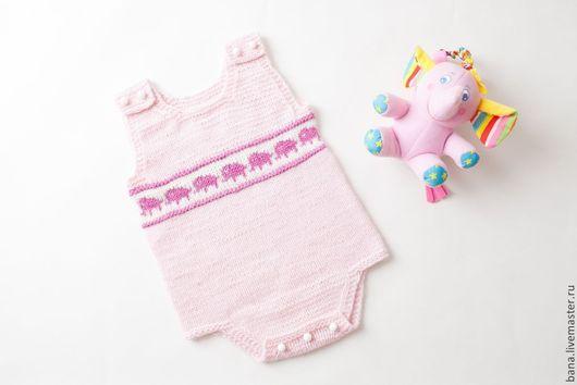 Для новорожденных, ручной работы. Ярмарка Мастеров - ручная работа. Купить Вязаный боди со слониками для маленькой принцессы. Handmade.
