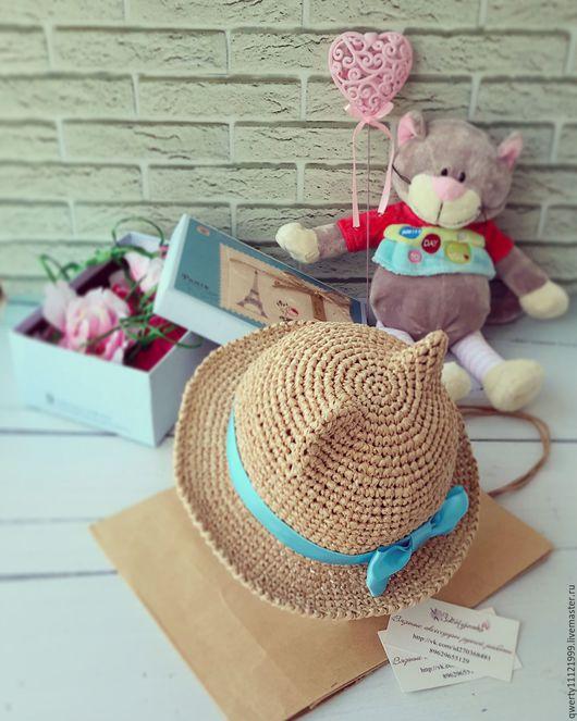"""Шляпы ручной работы. Ярмарка Мастеров - ручная работа. Купить Шляпа с ушками кошки """"Beige"""" (рафия). Handmade. Бежевый"""