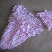 Работы для детей, ручной работы. Ярмарка Мастеров - ручная работа Розовый кокон+ шапочка. Handmade.