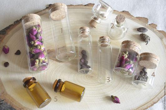 Для украшений ручной работы. Ярмарка Мастеров - ручная работа. Купить Маленькие стеклянные бутылочки. Handmade. Бутылочка стеклянная