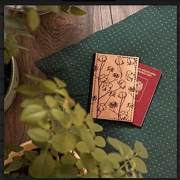 Канцелярские товары ручной работы. Ярмарка Мастеров - ручная работа Обложка на паспорт. дерево, кожа , ручная работа. Handmade.
