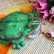 """Сумки и аксессуары ручной работы. Ярмарка Мастеров - ручная работа Кошелёк валяный """"Японская жаба"""" с фермуаром. Handmade."""