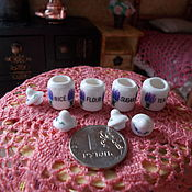 Аксессуары для кукол и игрушек ручной работы. Ярмарка Мастеров - ручная работа Кукольная посуда, набор баночек для хранения, в прованском стиле.. Handmade.