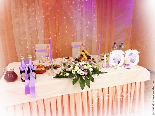 Свадебные цветы ручной работы. Ярмарка Мастеров - ручная работа. Купить Цветочная композиция на президиум. Handmade. Бледно-розовый, розы