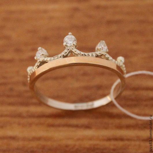 Кольца ручной работы. Ярмарка Мастеров - ручная работа. Купить Серебряное кольцо Корона с золотыми накладками, серебро 925. Handmade.
