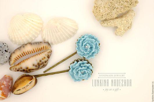 Свадебные украшения ручной работы. Ярмарка Мастеров - ручная работа. Купить Невидимки голубые пионы. Handmade. Голубой, зажим для волос