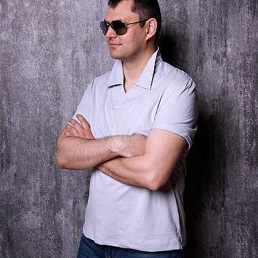 Clothing handmade. Livemaster - original item Grey men`s t-shirt, V-neck t-shirt, collar t-shirt. Handmade.