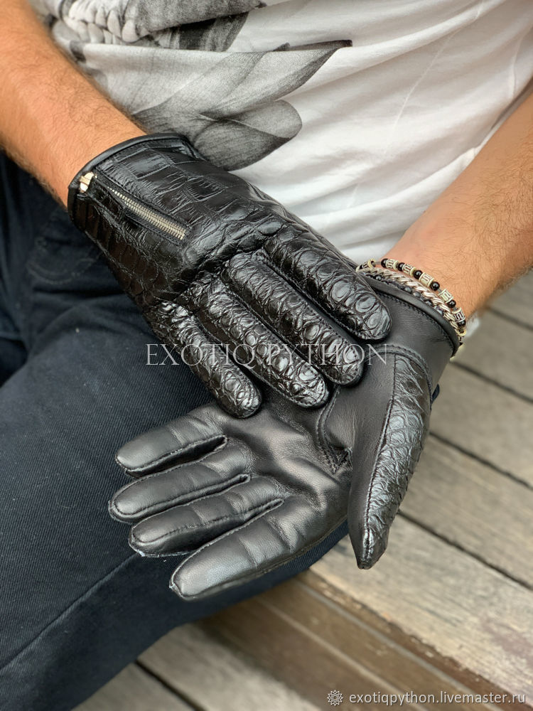 Men's Crocodile Leather Gloves, Gloves, Moscow,  Фото №1