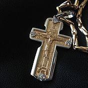 Украшения ручной работы. Ярмарка Мастеров - ручная работа Крест с бриллиантами золото 585 пробы цепь золотая. Handmade.