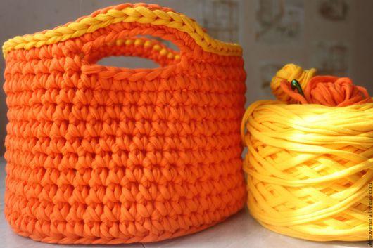 """Корзины, коробы ручной работы. Ярмарка Мастеров - ручная работа. Купить Корзинка """"Апельсинка"""". Handmade. Оранжевый, хранение пряжи"""