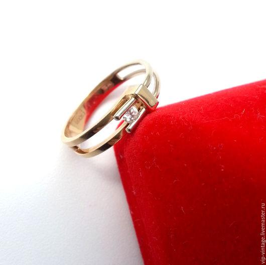 Кольца ручной работы. Ярмарка Мастеров - ручная работа. Купить HI-TECH Золотое кольцо с бриллиантом, 585. Handmade. Золотой