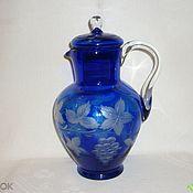 Винтаж handmade. Livemaster - original item Pitcher. Color BLUE COBALT glass, crystal. LSHS.. Handmade.