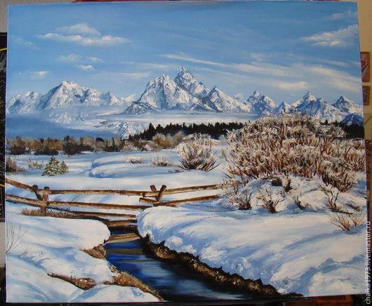 Пейзаж ручной работы. Ярмарка Мастеров - ручная работа. Купить Зимний пейзаж. Handmade. Голубой, зимний пейзаж, горы, Снег