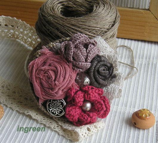 Броши ручной работы. Ярмарка Мастеров - ручная работа. Купить Текстильная брошь Осень в розовых тонах, №3. Handmade. Осень