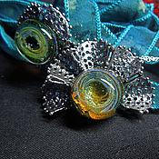 Украшения ручной работы. Ярмарка Мастеров - ручная работа Ажурный изумруд - кулон и кольцо лэмпворк. Handmade.