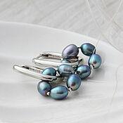 Украшения handmade. Livemaster - original item Blue Pearl Hoop Earrings. Handmade.