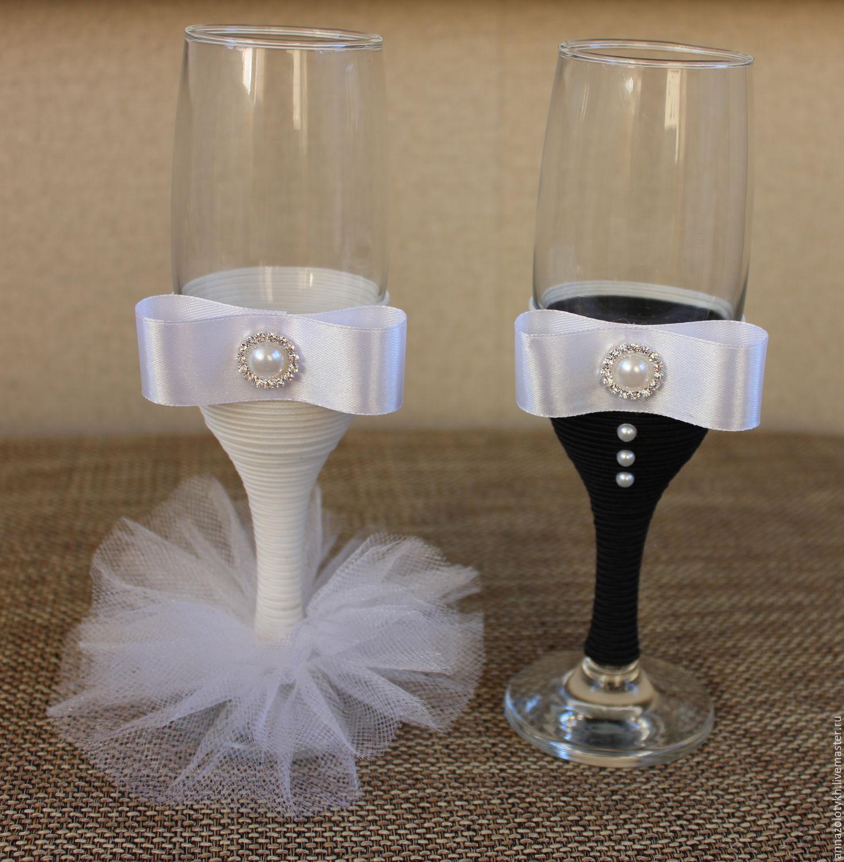 Украшение свадебных бокалов своими руками: 100 мастер классов 29