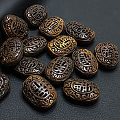 Материалы для творчества handmade. Livemaster - original item Beads Carved Buffalo Bone Oval 33h25mm. Handmade.