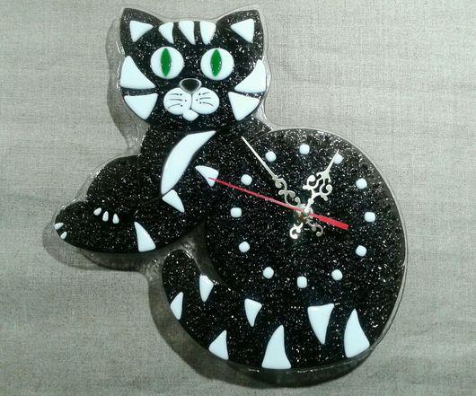 """Часы для дома ручной работы. Ярмарка Мастеров - ручная работа. Купить Часы """"Кошка"""". Handmade. Часы, часы настенные из стекла"""