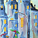 Город ручной работы. Панно Дождь. Елена Моф (elenamof). Ярмарка Мастеров. Картина на шелке, холод, влюбленные, синий цвет