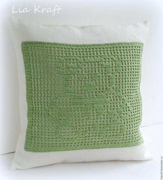 Текстиль, ковры ручной работы. Ярмарка Мастеров - ручная работа. Купить Декоративная подушка Диванная Детская Белый Зелёный Медвежонок. Handmade.