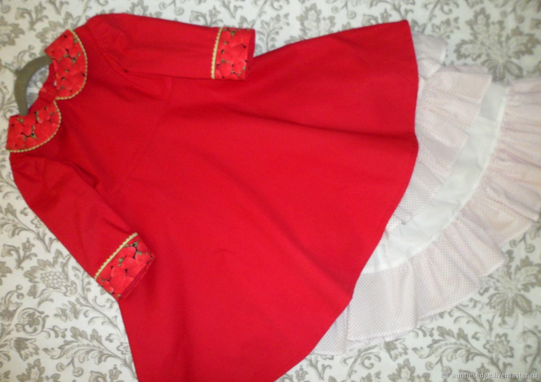 """Комплект платье и нижняя юбка для девочки """"Цвет настроения. Клубника"""""""