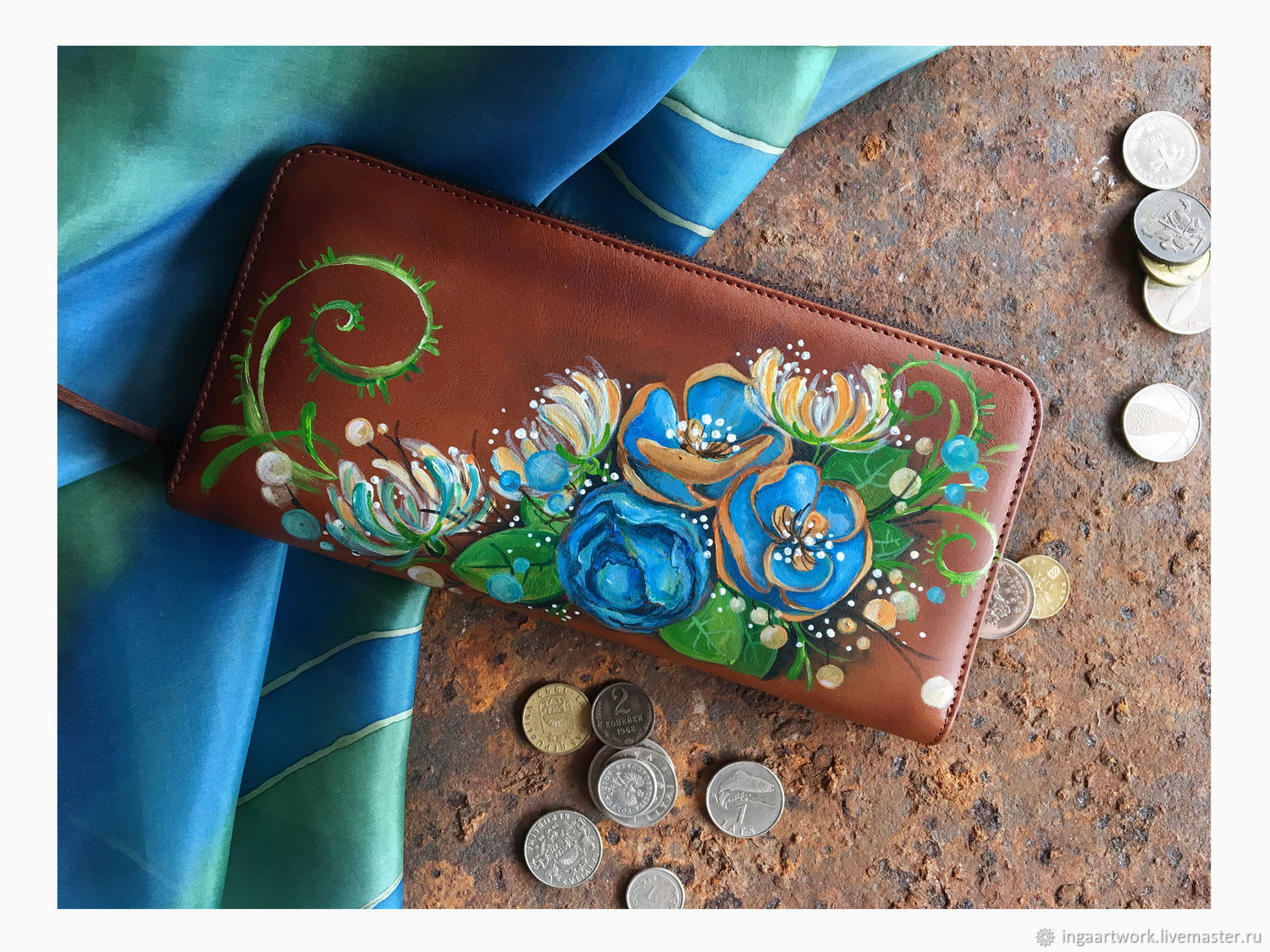 Meadow long wallet. Hand painted natural leather purse, Wallets, Trakai,  Фото №1