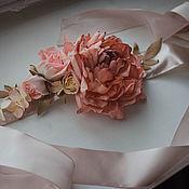 Свадебный салон ручной работы. Ярмарка Мастеров - ручная работа Свадебный пояс с пионом и розами. Handmade.