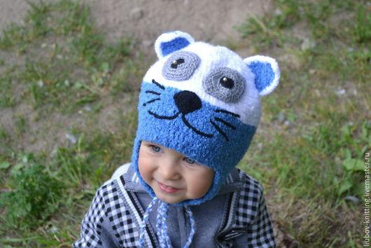 """Одежда унисекс ручной работы. Ярмарка Мастеров - ручная работа. Купить Детская шапочка """"Котёнок"""". Handmade. Разноцветный, шерстяная шапка"""