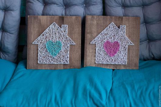 Символизм ручной работы. Ярмарка Мастеров - ручная работа. Купить Дом с сердцем в технике String Art. Handmade. Комбинированный, картина