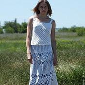"""Одежда ручной работы. Ярмарка Мастеров - ручная работа Бохо-юбка вязаная """"Эти белые цветы"""" длинная. Handmade."""