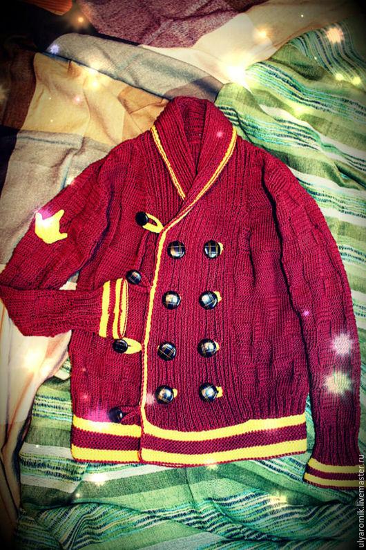 Одежда для мальчиков, ручной работы. Ярмарка Мастеров - ручная работа. Купить Королевский кардиган. Handmade. Коричневый, кардиган ручной работы