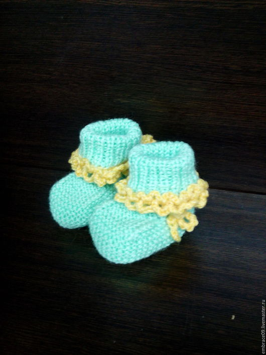 Для новорожденных, ручной работы. Ярмарка Мастеров - ручная работа. Купить пинетки. Handmade. Ярко-зелёный, пинетки для новорожденных