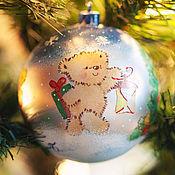 """Подарки к праздникам ручной работы. Ярмарка Мастеров - ручная работа Елочный шарик """"Медвежий Новый год"""". Handmade."""