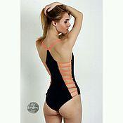 Одежда ручной работы. Ярмарка Мастеров - ручная работа Слитный  купальник bonbon s4 черно/оранжевый. Handmade.