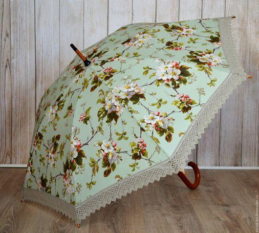 """Зонты ручной работы. Ярмарка Мастеров - ручная работа. Купить Зонт от солнца """"Яблоневый цвет"""". Handmade. Салатовый, яблоневый цвет"""